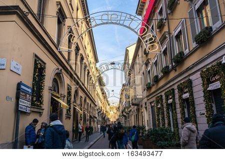 Milan Italy Monte Napoleone Shopping Street Famous Blue Sky WInter 2016 Christmas Decoration Holidays Tourists Sightseeing