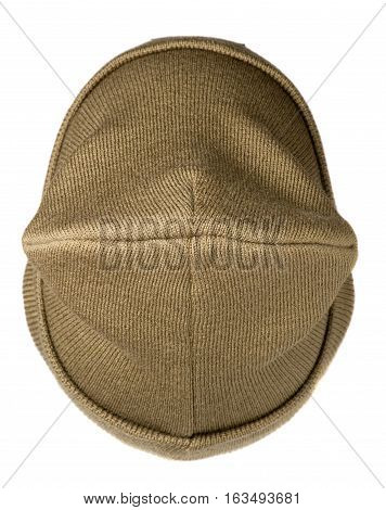 hat isolated on white background .knitted hat .beige hat.hat top view