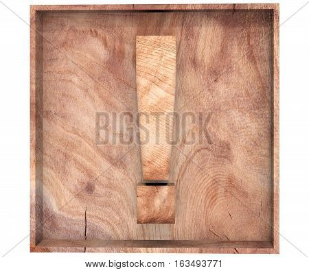 Alphabet Wooden Texture Exclamation Mark Sing In Wooden Box. 3D Rendering Illustration