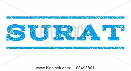 Surat watermark stamp. Text caption between horizontal parallel lines with grunge design style. Rubber seal stamp with dust texture. Vector blue color ink imprint on a white background.