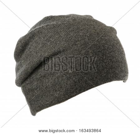 Hat Isolated On White Background .knitted Hat .gray Hat.