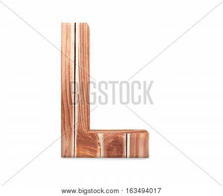 3D Decorative Wooden Alphabet From Planks, Capital Letter L