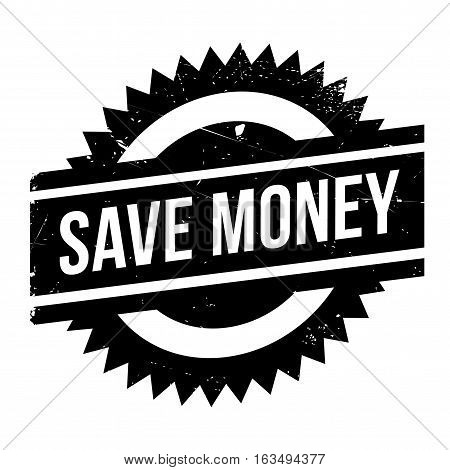 Save money stamp. Grunge design with dust scratches. Effects can be easily removed for a clean, crisp look. Color is easily changed.