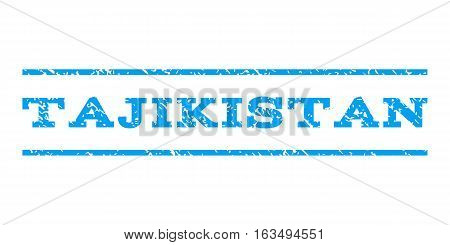 Tajikistan watermark stamp. Text tag between horizontal parallel lines with grunge design style. Rubber seal stamp with dirty texture. Vector blue color ink imprint on a white background.