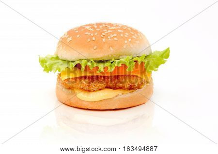 Fresh delicious burger whith cheese and salad isolated