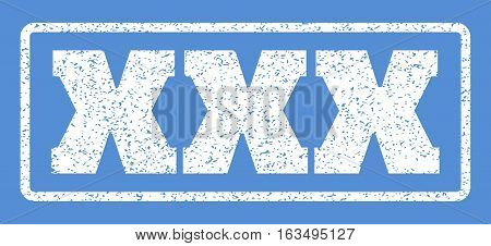 White rubber seal stamp with XXX text. Vector message inside rounded rectangular frame. Grunge design and dirty texture for watermark labels. Horisontal sign on a blue background.