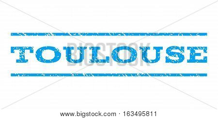 Toulouse watermark stamp. Text caption between horizontal parallel lines with grunge design style. Rubber seal stamp with scratched texture. Vector blue color ink imprint on a white background.