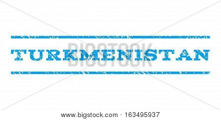 Turkmenistan watermark stamp. Text tag between horizontal parallel lines with grunge design style. Rubber seal stamp with dust texture. Vector blue color ink imprint on a white background.