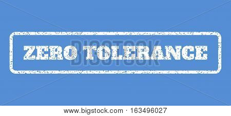 White rubber seal stamp with Zero Tolerance text. Vector tag inside rounded rectangular banner. Grunge design and scratched texture for watermark labels. Horisontal sign on a blue background.