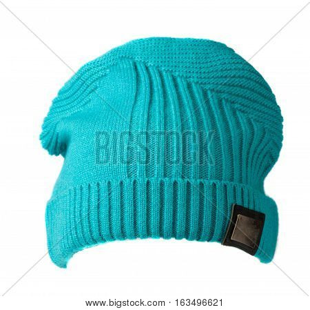 Women's Hat . Knitted Hat Isolated On White Background. Turquoise Hat.