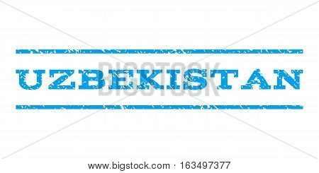 Uzbekistan watermark stamp. Text tag between horizontal parallel lines with grunge design style. Rubber seal stamp with dust texture. Vector blue color ink imprint on a white background.
