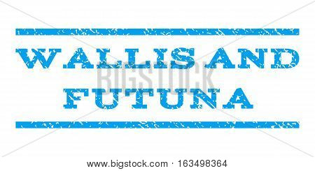 Wallis and Futuna watermark stamp. Text tag between horizontal parallel lines with grunge design style. Rubber seal stamp with dust texture. Vector blue color ink imprint on a white background.