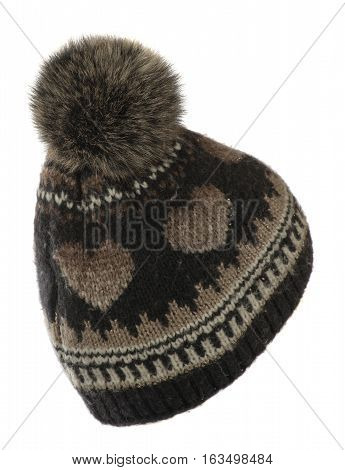 Women's Hat . Knitted Hat Isolated On White Background