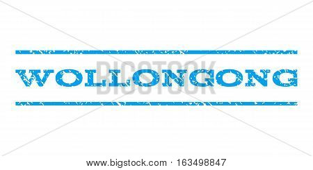 Wollongong watermark stamp. Text caption between horizontal parallel lines with grunge design style. Rubber seal stamp with scratched texture. Vector blue color ink imprint on a white background.
