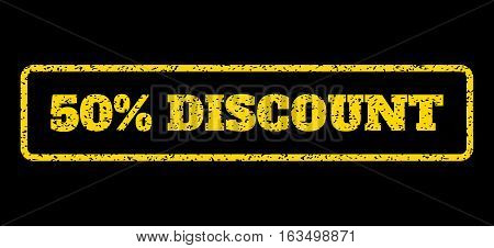 Yellow rubber seal stamp with 50 Percent Discount text. Vector tag inside rounded rectangular frame. Grunge design and scratched texture for watermark labels. Horisontal sticker on a blue background.