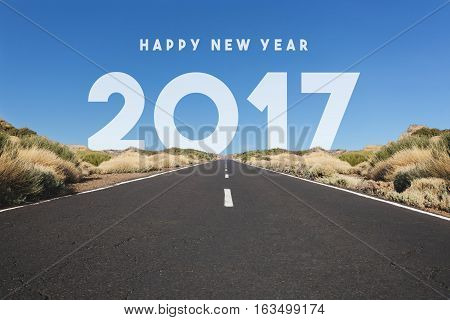 Happy New Year 2017 Concept - Road , Highway With Text
