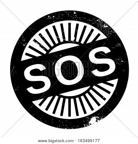 Sos stamp. Grunge design with dust scratches. Effects can be easily removed for a clean, crisp look. Color is easily changed.