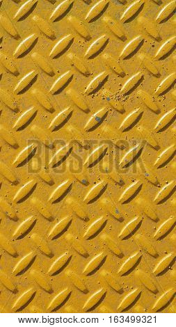 Yellow Steel Diamond Plate Background - Vertical