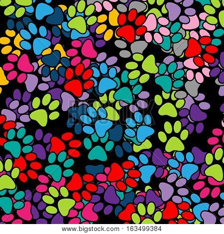 Illustration paw prints in various colors as a background.