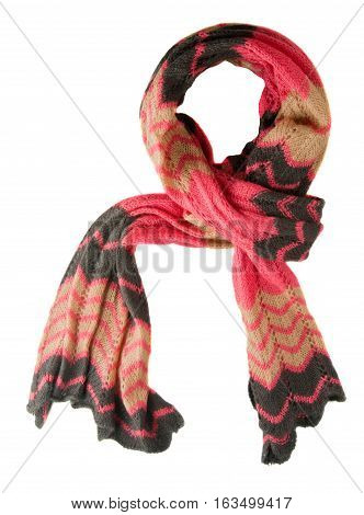 Scarf Isolated On White Background.scarf  Top View.red Beige Black Scarf.
