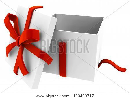 Gift big box open 3d illustration, over white, isolated, horizontal