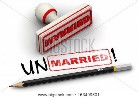 Unmarried! Corrected seal impression. Red seal and imprint