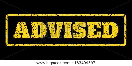 Yellow rubber seal stamp with Advised text. Vector caption inside rounded rectangular shape. Grunge design and dust texture for watermark labels. Horisontal sign on a blue background.