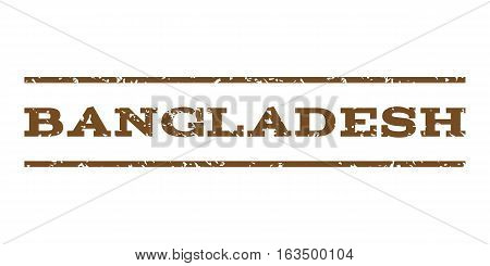 Bangladesh watermark stamp. Text tag between horizontal parallel lines with grunge design style. Rubber seal stamp with dust texture. Vector brown color ink imprint on a white background.