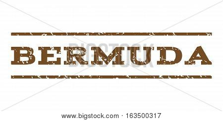 Bermuda watermark stamp. Text caption between horizontal parallel lines with grunge design style. Rubber seal stamp with dust texture. Vector brown color ink imprint on a white background.