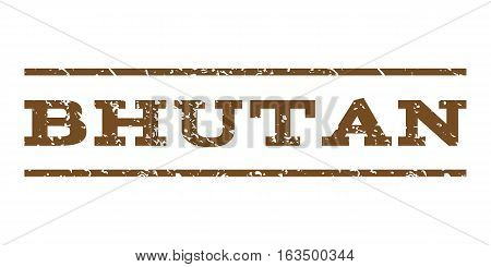 Bhutan watermark stamp. Text tag between horizontal parallel lines with grunge design style. Rubber seal stamp with unclean texture. Vector brown color ink imprint on a white background.