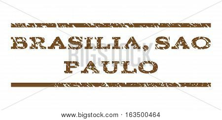 Brasilia, Sao Paulo watermark stamp. Text tag between horizontal parallel lines with grunge design style. Rubber seal stamp with unclean texture. Vector brown color ink imprint on a white background.
