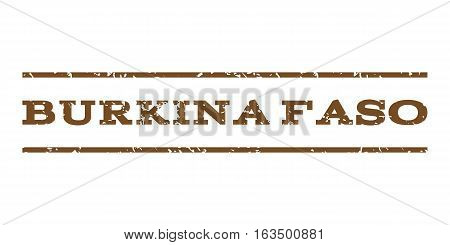 Burkina Faso watermark stamp. Text caption between horizontal parallel lines with grunge design style. Rubber seal stamp with dirty texture. Vector brown color ink imprint on a white background.