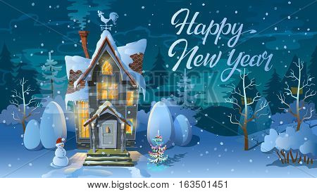 Happy new year. Winter time. Night of Christmas, the Family house before a holiday. An illustration for a card. New Year's poster