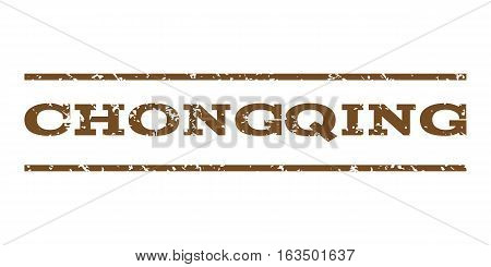 Chongqing watermark stamp. Text caption between horizontal parallel lines with grunge design style. Rubber seal stamp with unclean texture. Vector brown color ink imprint on a white background.