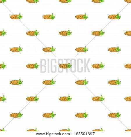 Chocolate chip cookie with marijuana leaf pattern. Cartoon illustration of chocolate chip cookie with marijuana leaf vector pattern for web