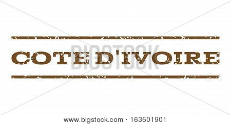 Cote D'Ivoire watermark stamp. Text caption between horizontal parallel lines with grunge design style. Rubber seal stamp with unclean texture. Vector brown color ink imprint on a white background.