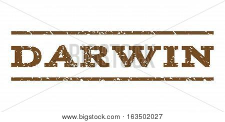 Darwin watermark stamp. Text tag between horizontal parallel lines with grunge design style. Rubber seal stamp with dust texture. Vector brown color ink imprint on a white background.