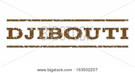 Djibouti watermark stamp. Text caption between horizontal parallel lines with grunge design style. Rubber seal stamp with dust texture. Vector brown color ink imprint on a white background.