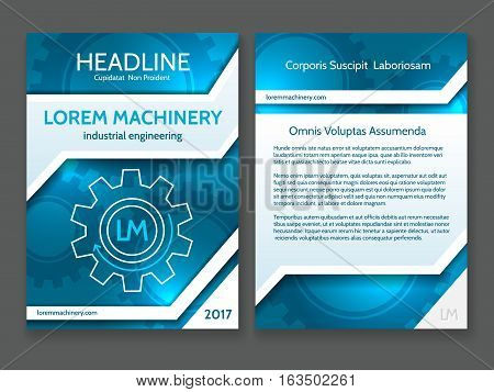 Abstract technology brochure template, modern digital technology blue design frame with vector tech stripes and gears illustration