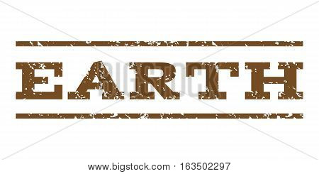 Earth watermark stamp. Text caption between horizontal parallel lines with grunge design style. Rubber seal stamp with unclean texture. Vector brown color ink imprint on a white background.