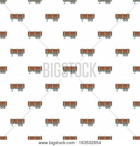 Trailer full of logs pattern. Cartoon illustration of trailer full of logs vector pattern for web