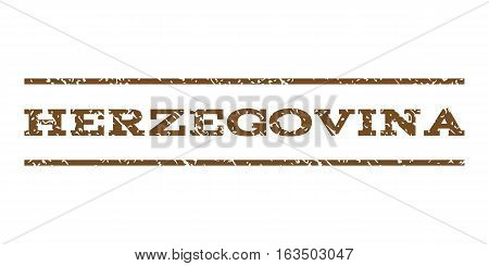 Herzegovina watermark stamp. Text tag between horizontal parallel lines with grunge design style. Rubber seal stamp with unclean texture. Vector brown color ink imprint on a white background.
