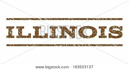 Illinois watermark stamp. Text caption between horizontal parallel lines with grunge design style. Rubber seal stamp with scratched texture. Vector brown color ink imprint on a white background.