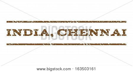 India Chennai watermark stamp. Text caption between horizontal parallel lines with grunge design style. Rubber seal stamp with dirty texture. Vector brown color ink imprint on a white background.