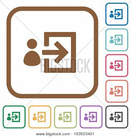 User login simple icons in color rounded square frames on white background