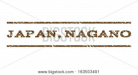 Japan, Nagano watermark stamp. Text caption between horizontal parallel lines with grunge design style. Rubber seal stamp with dirty texture. Vector brown color ink imprint on a white background.
