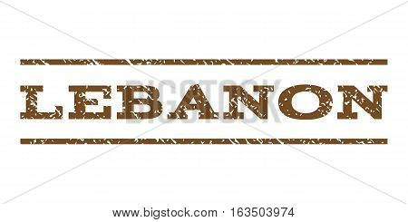 Lebanon watermark stamp. Text caption between horizontal parallel lines with grunge design style. Rubber seal stamp with dirty texture. Vector brown color ink imprint on a white background.