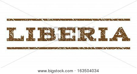 Liberia watermark stamp. Text caption between horizontal parallel lines with grunge design style. Rubber seal stamp with scratched texture. Vector brown color ink imprint on a white background.