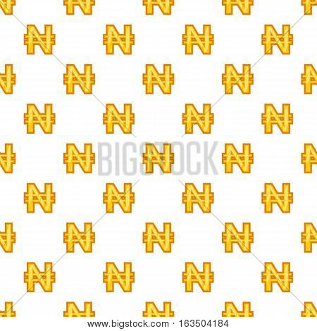 Nairas currency symbol pattern. Cartoon illustration of nairas currency symbol vector pattern for web