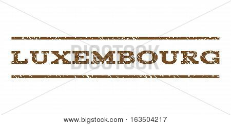 Luxembourg watermark stamp. Text tag between horizontal parallel lines with grunge design style. Rubber seal stamp with unclean texture. Vector brown color ink imprint on a white background.